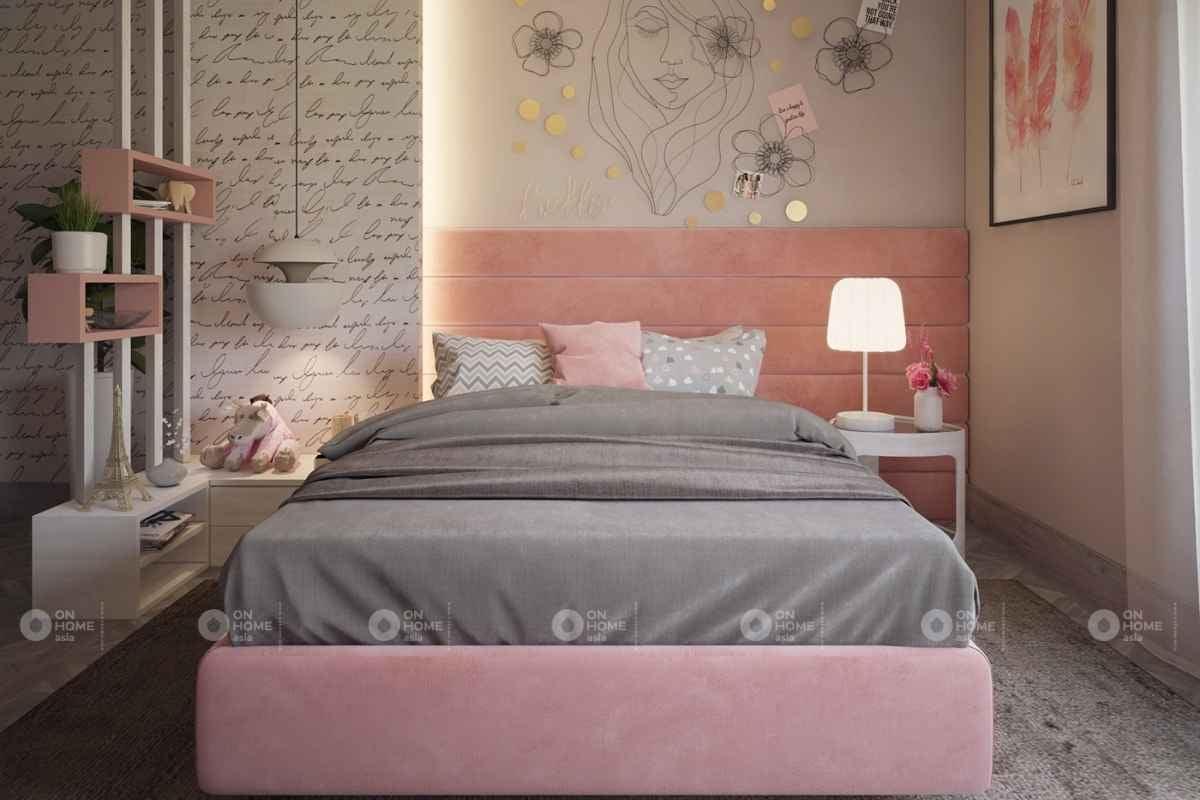 Bố trí phòng ngủ nhỏ màu hồng