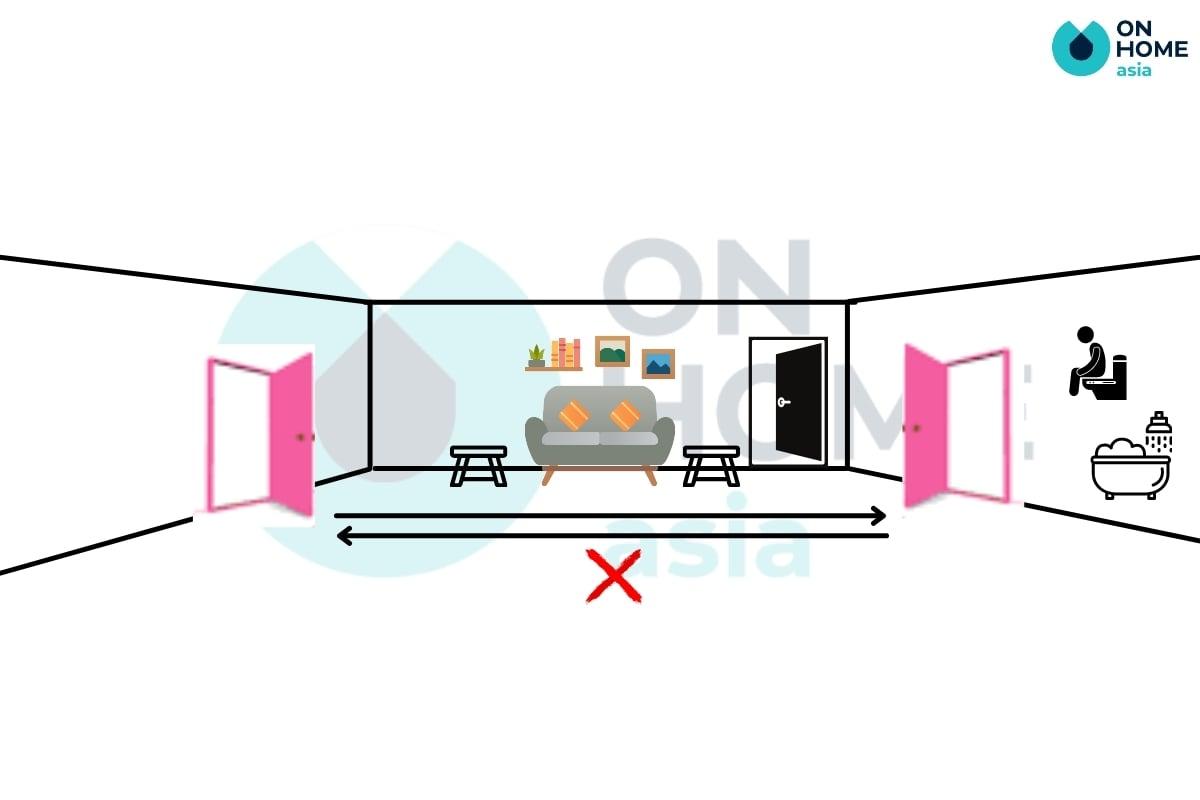 cửa chính tránh nhà vệ sinh