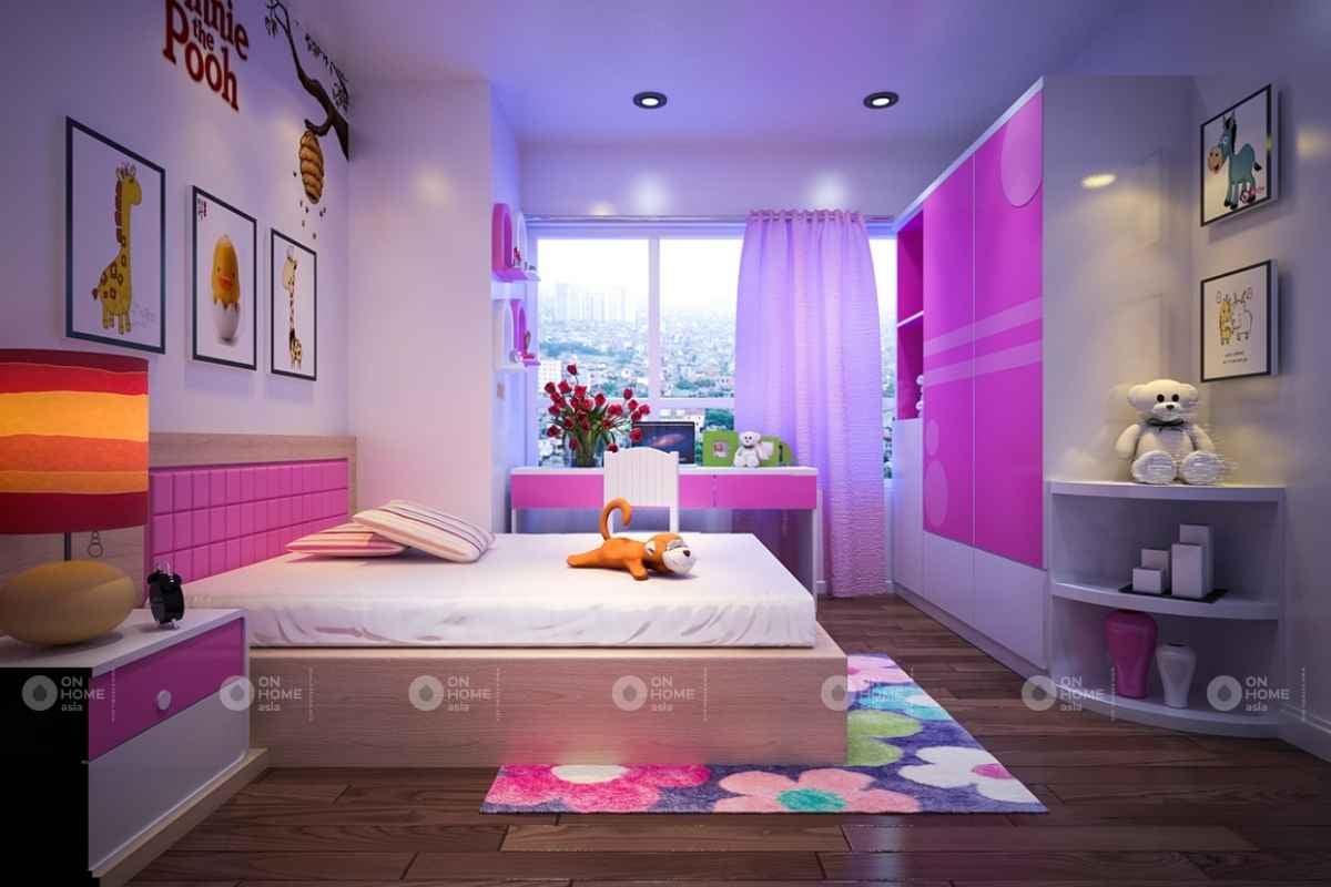 Cách bày trí phòng ngủ màu hồng đậm