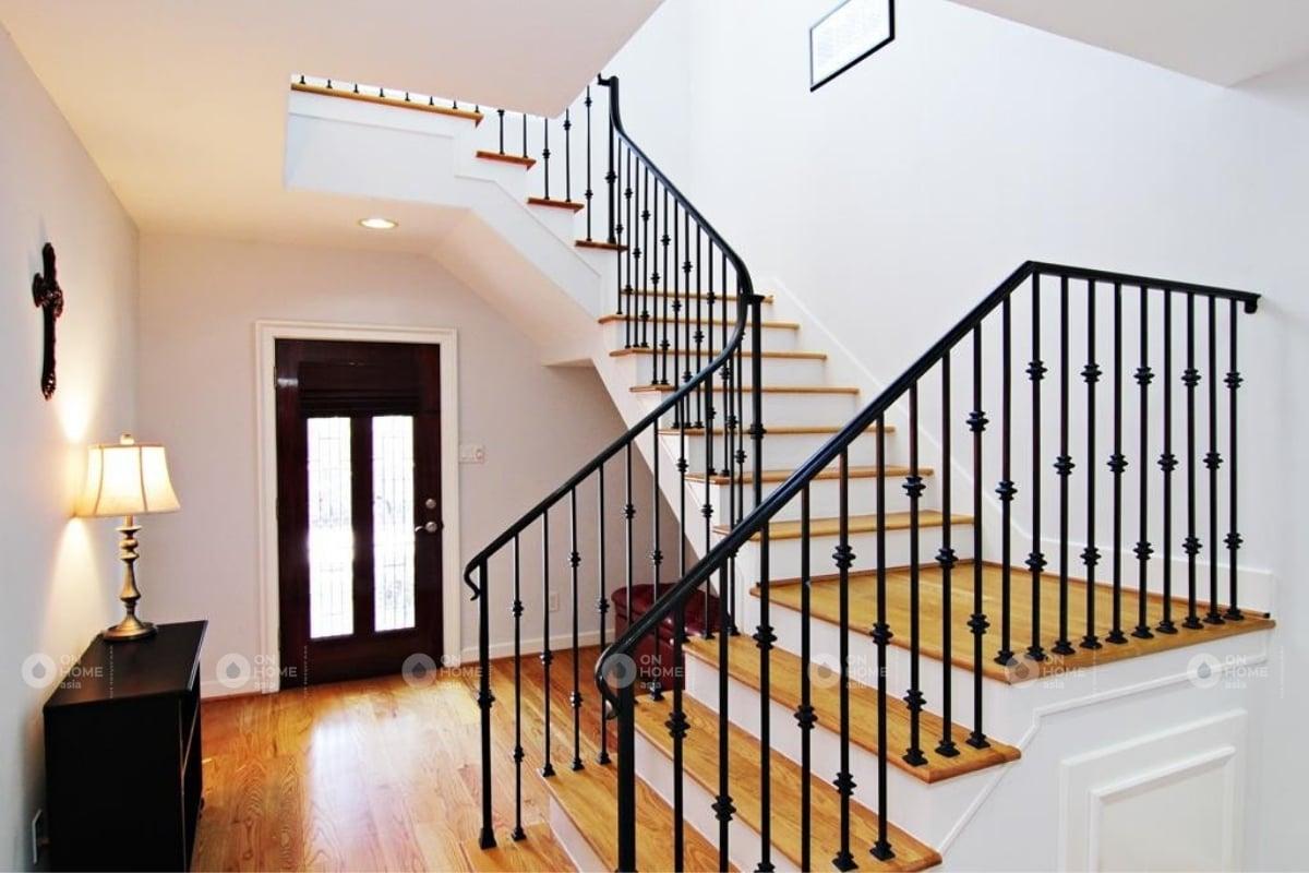 chất liệu gỗ trong thiết kế ầu thang đẹp