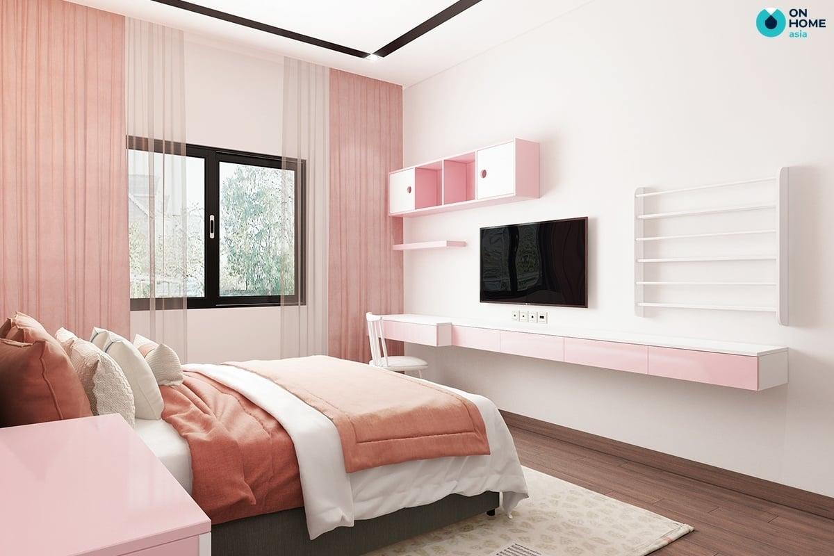 chất liệu nhựa với phòng ngủ màu hồng