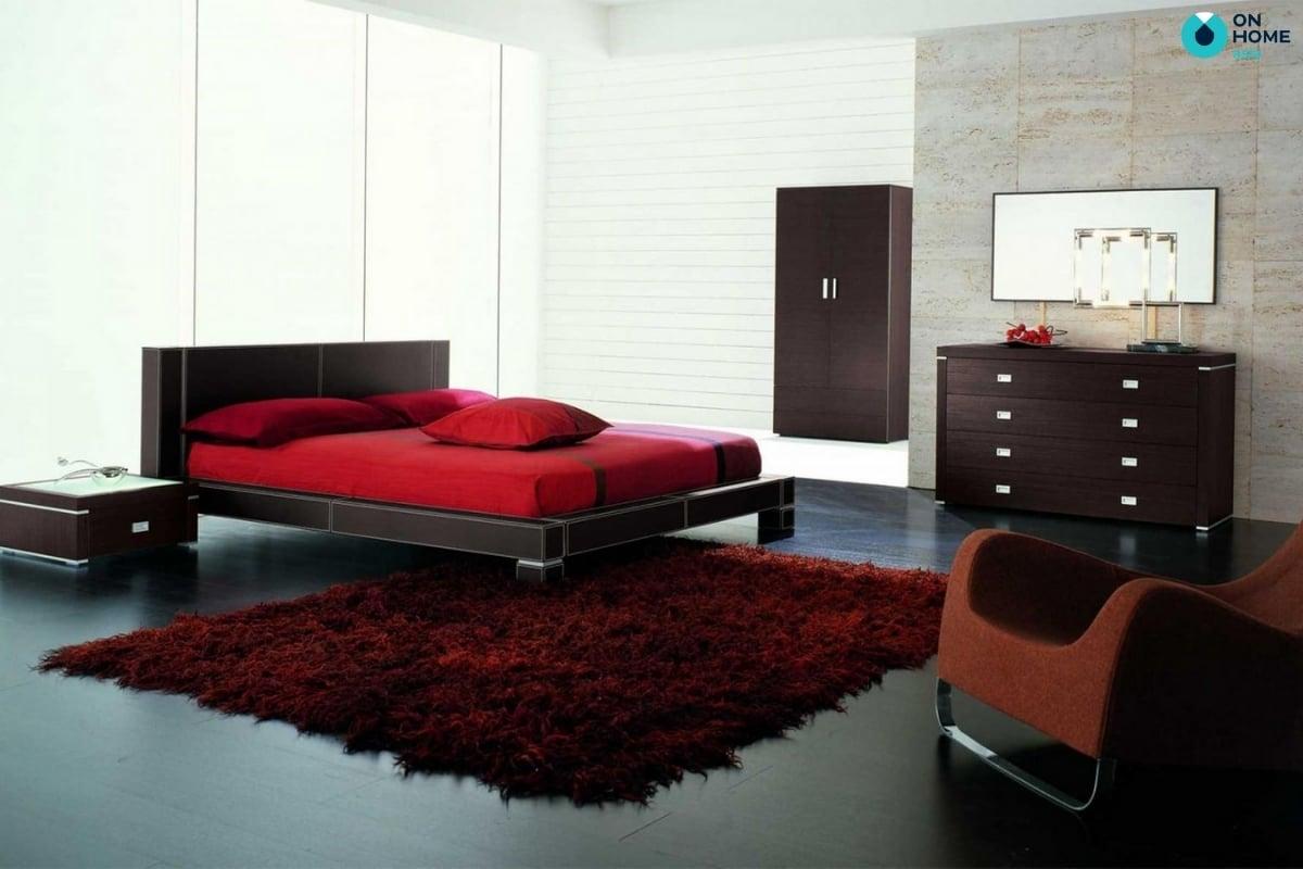 thảm lông màu đỏ đẹp mắt