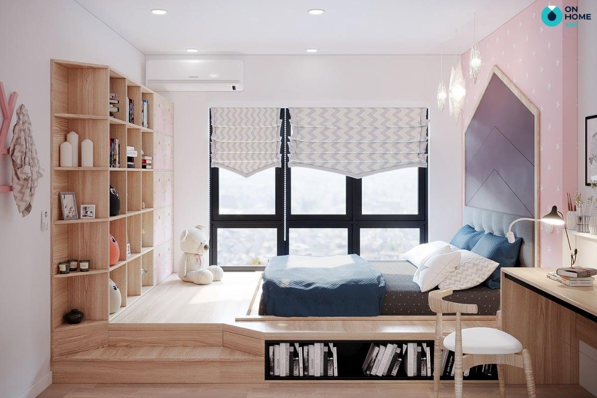 phòng ngủ với chất liệu gỗ công nghiệp
