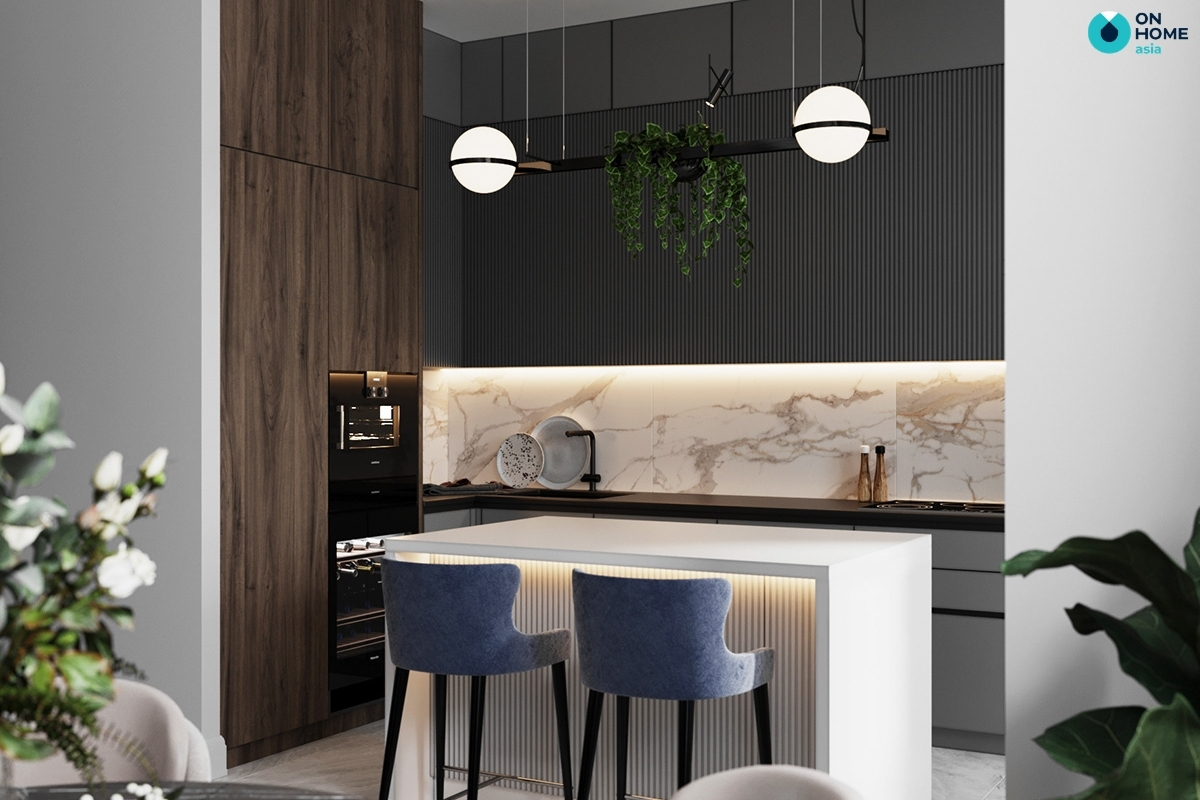phòng bếp với quầy bar mini