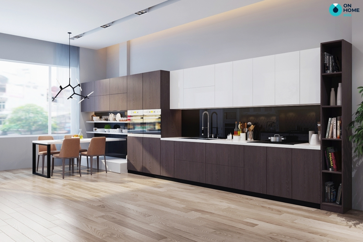 mẫu nhà bếp với bàn ăn thông minh