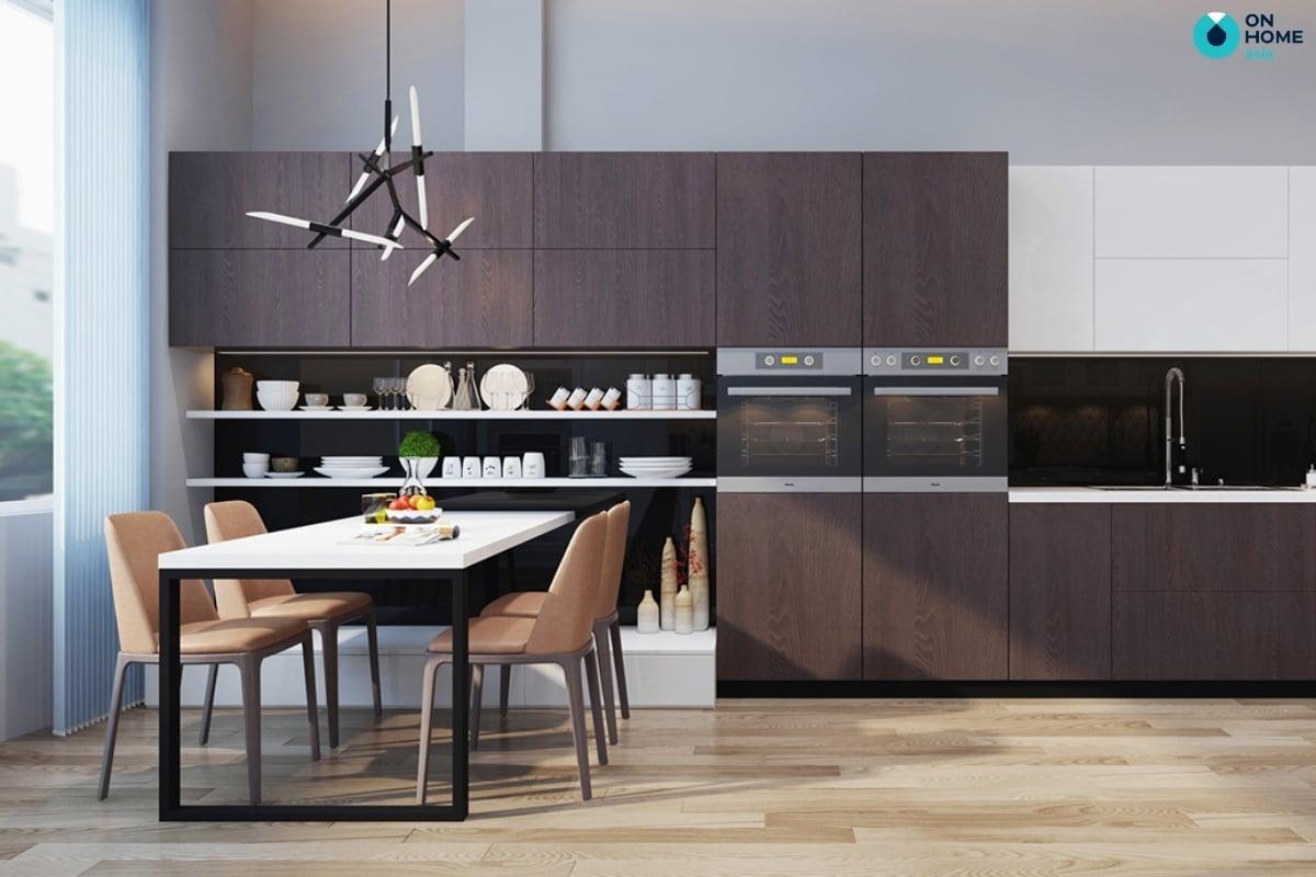 phòng bếp chung cư với bàn ăn thông minh