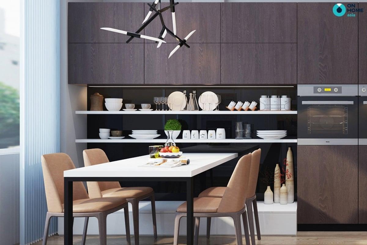 nhà bếp với bàn ăn thông minh