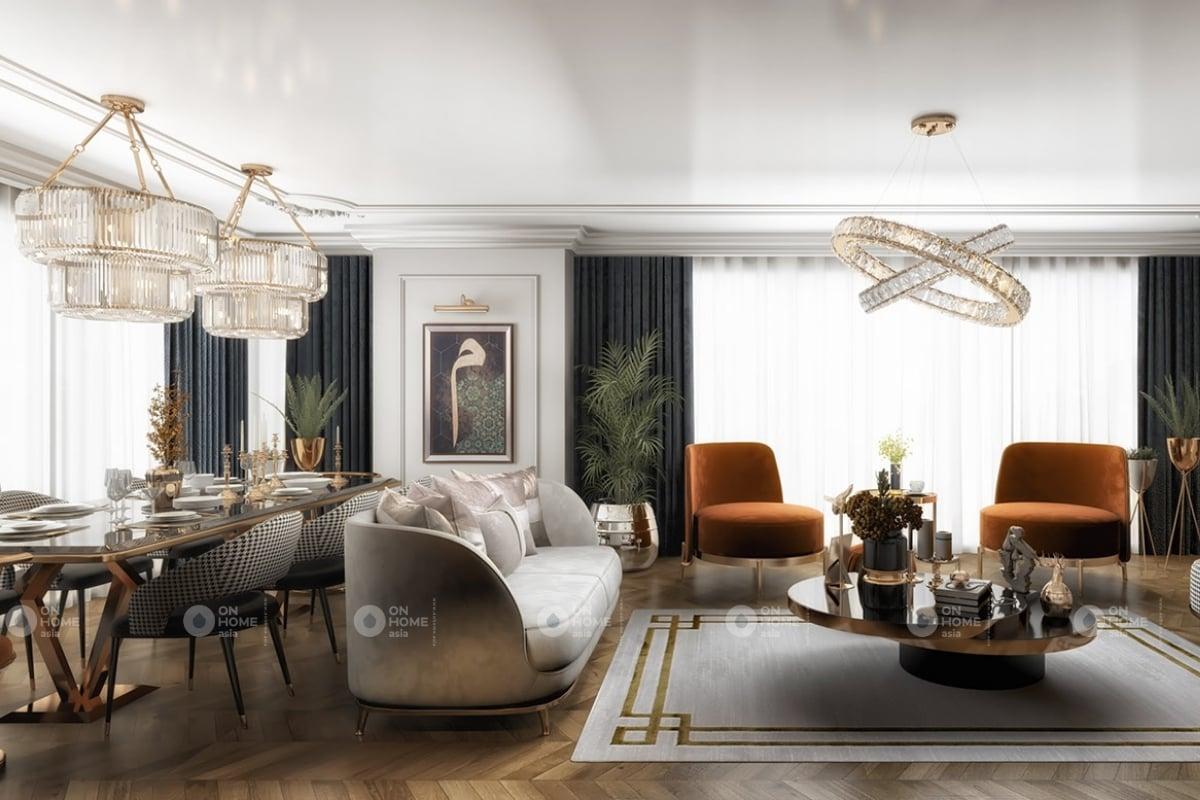 Thiết kế phòng khách tinh tế và sang trọng đến từng chi tiết