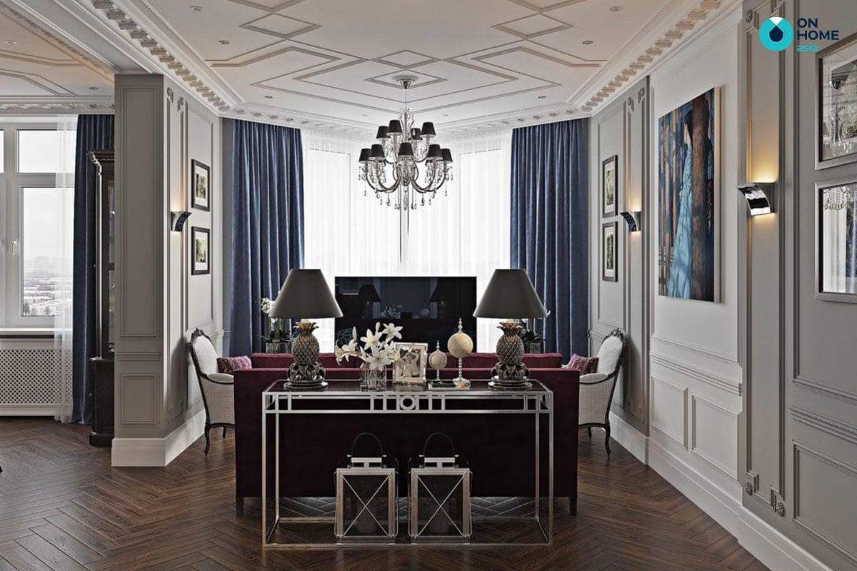 Phòng khách chung cư phong cách nội thất tân cổ điển
