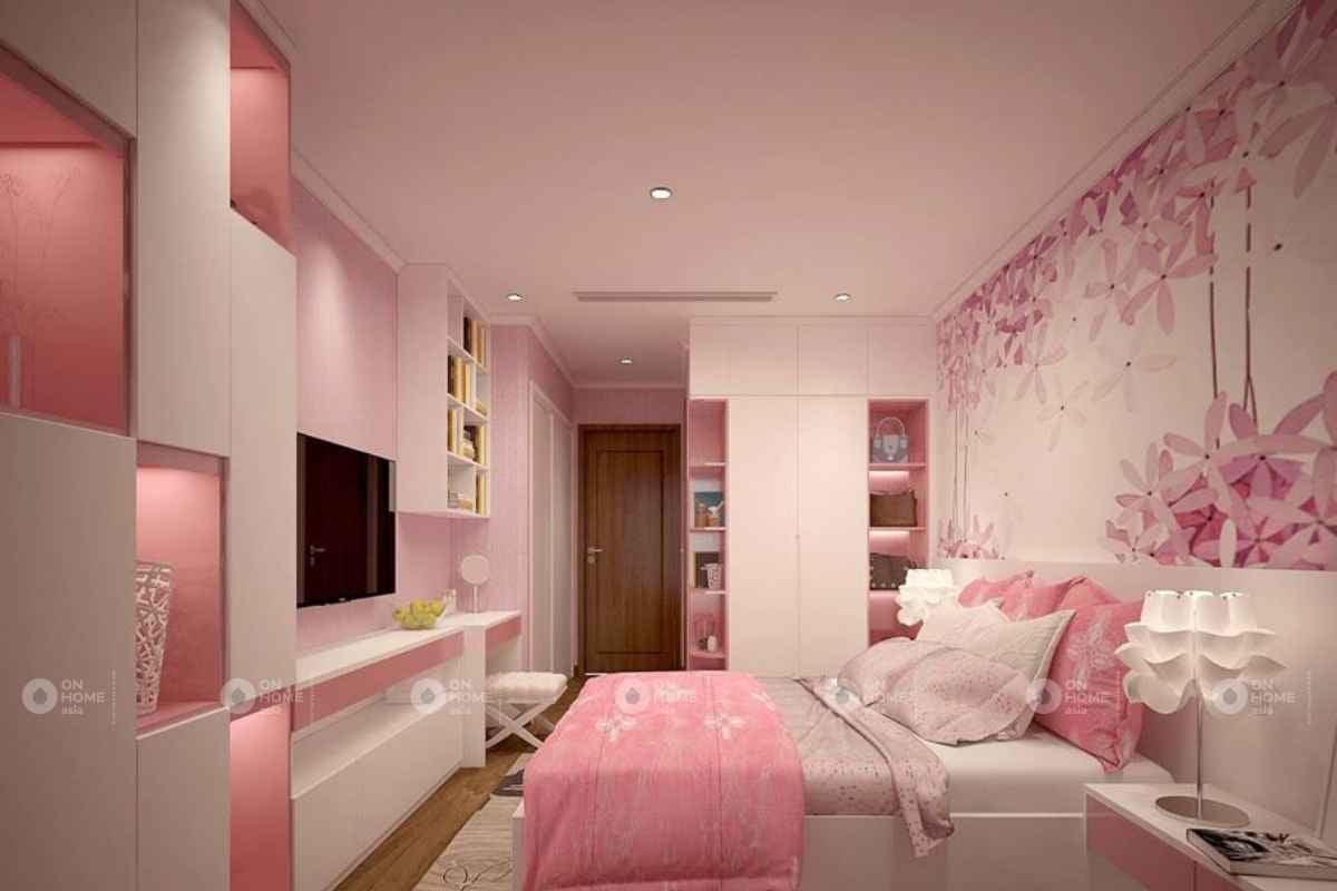Decal dán tường màu hồng cho phòng ngủ