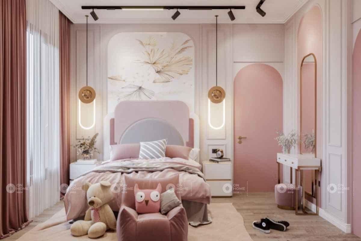 Điểm nhấn màu hồng phòng ngủ đẹp