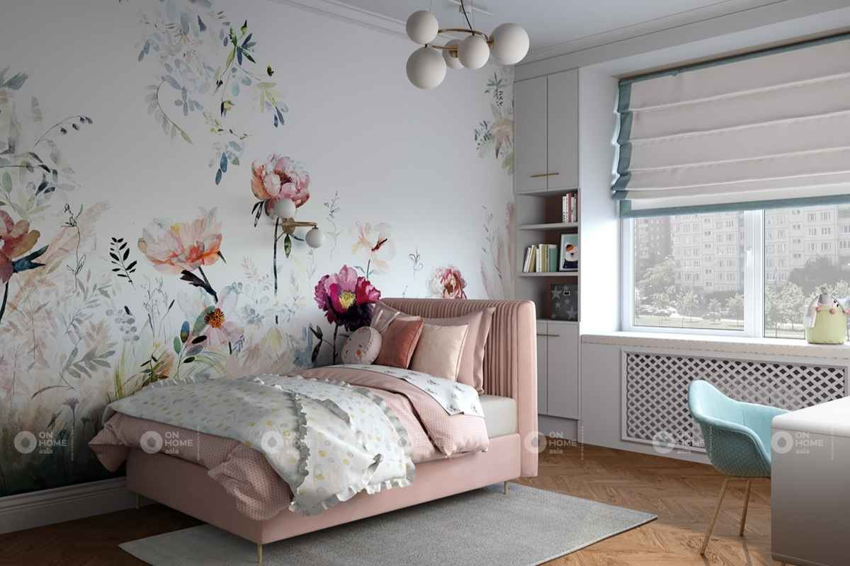 Giấy dán tường họa tiết hoa màu hồng