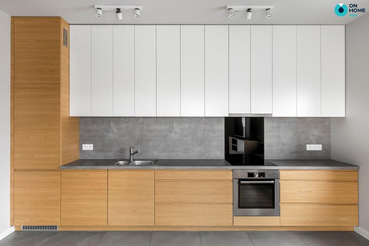thiết kế tủ bếp gỗ công nghiệp hiện đại