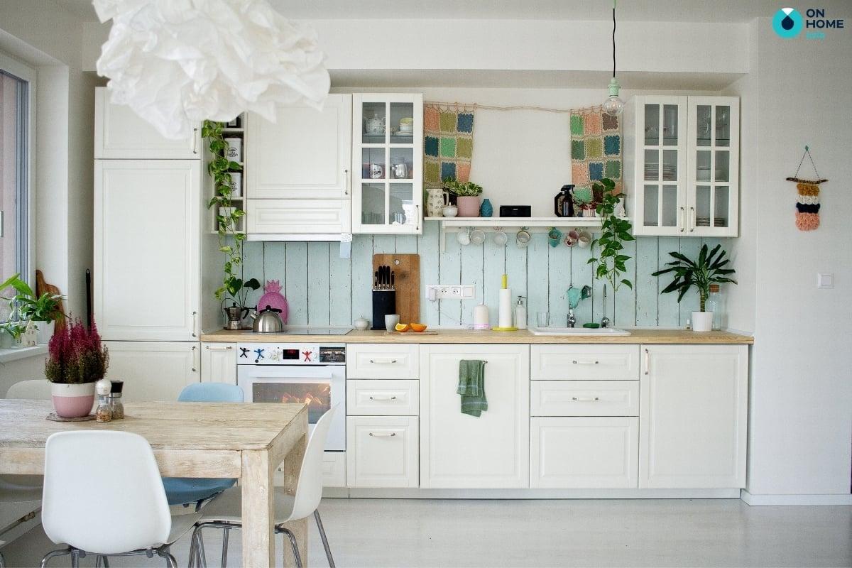 tủ bếp với chất liệu gỗ công nghiệp
