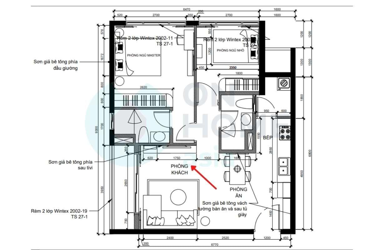Hướng không gian phòng khách theo bản vẽ 3D