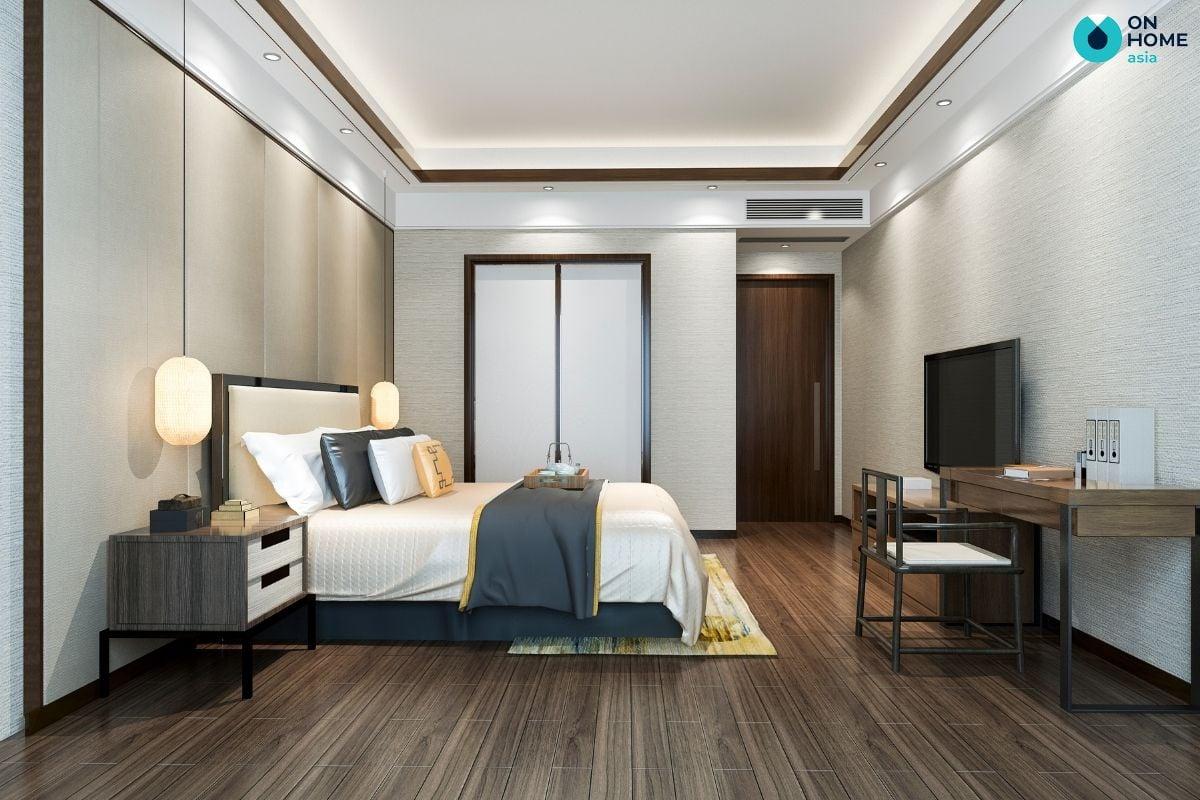 Phòng ngủ được bố trí kệ tivi