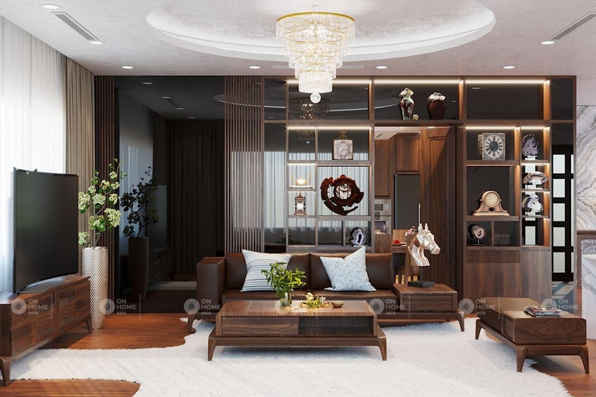 Kệ trang trí phòng khách bằng gỗ