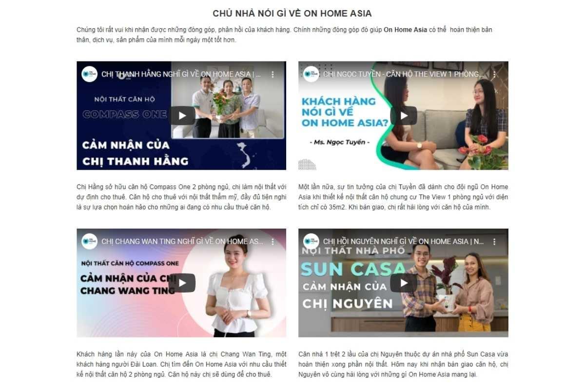 Cảm nhận khách hàng về On Home Asia