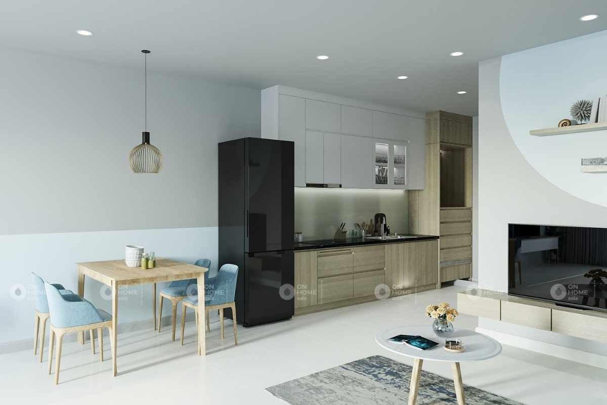 Thiết kế nội thất phòng bếp căn hộ Eco Xuân Sky Residence 1 phòng ngủ