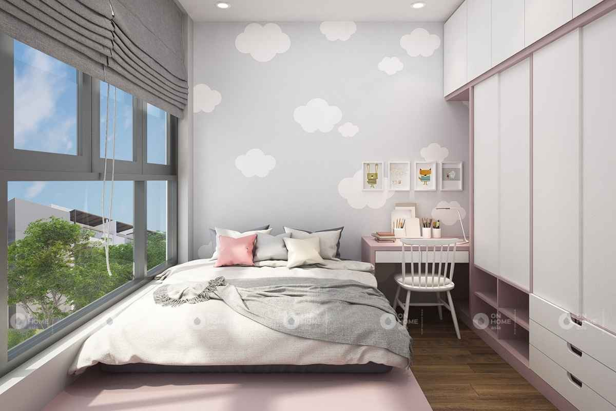 Không gian nội thất màu hồng nhạt