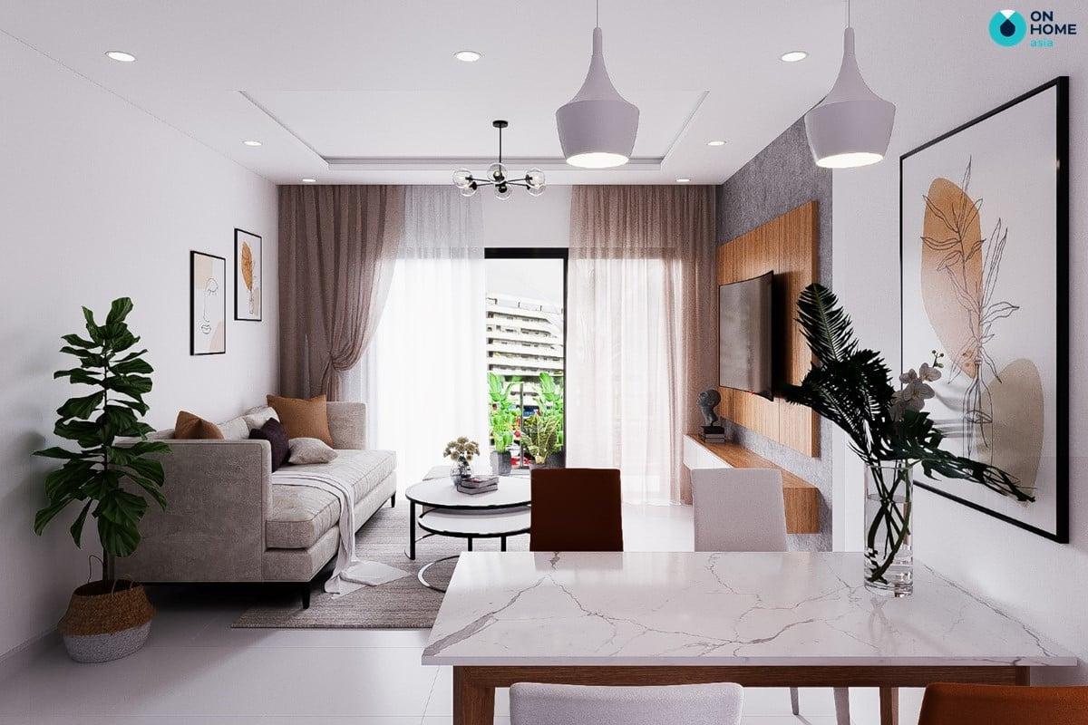 Nội thất phòng khách mang phong cách hiện đại dành cho căn hộ Compass One 2 phòng ngủ