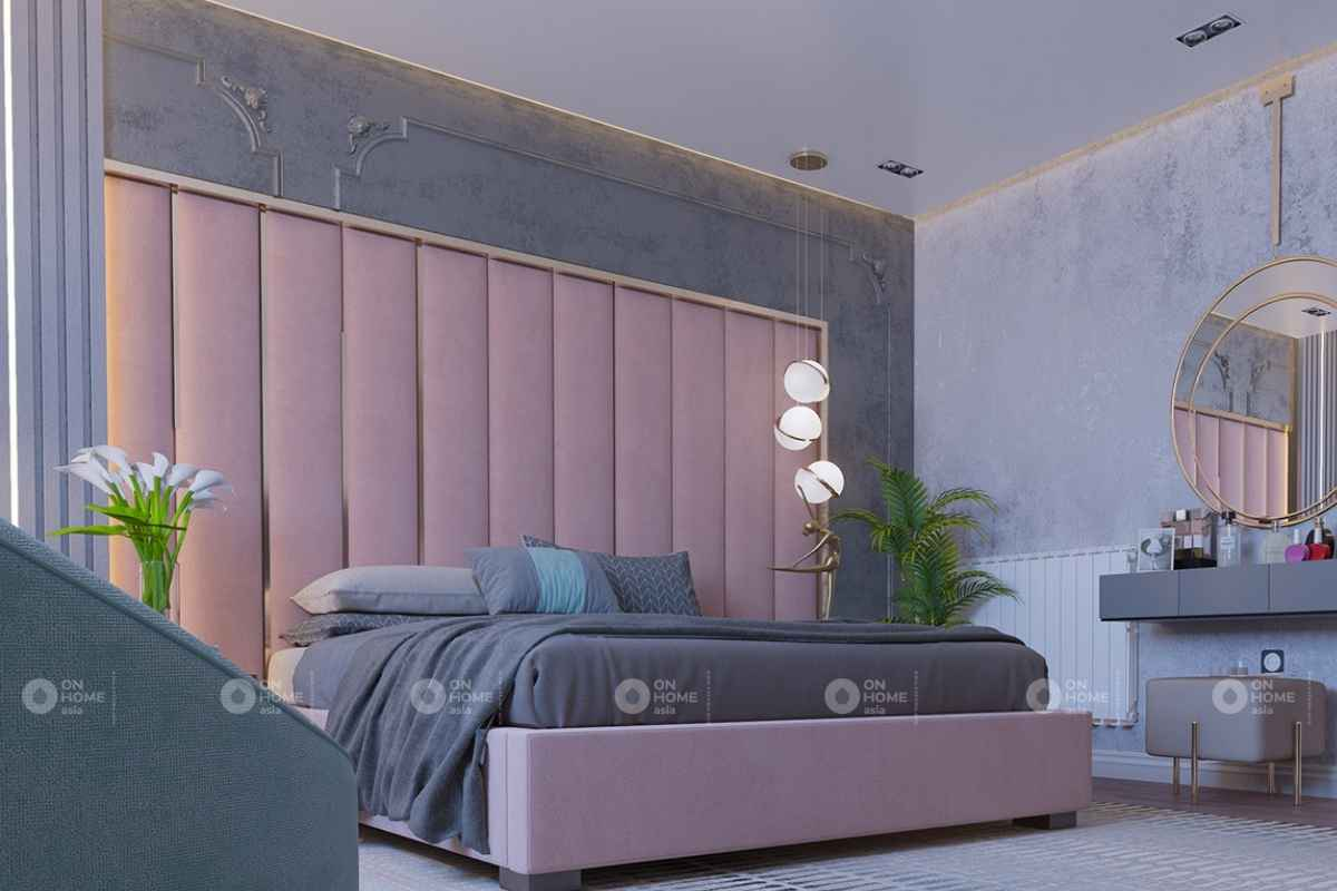 Không gian phòng ngủ hài hòa và cân xứng với