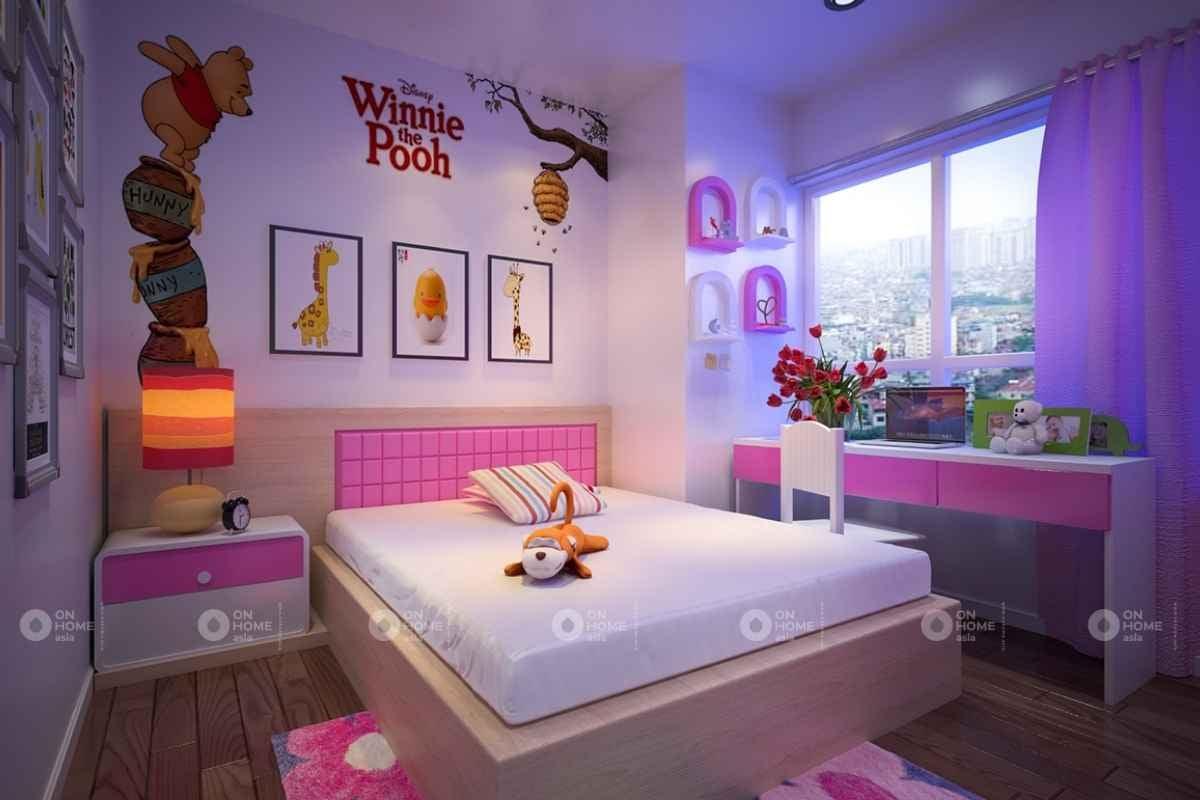Không gian phòng ngủ màu hồng đậm