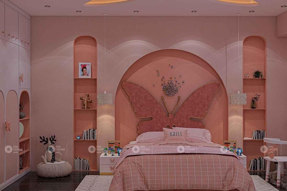 Không gian phòng ngủ màu hồng đào