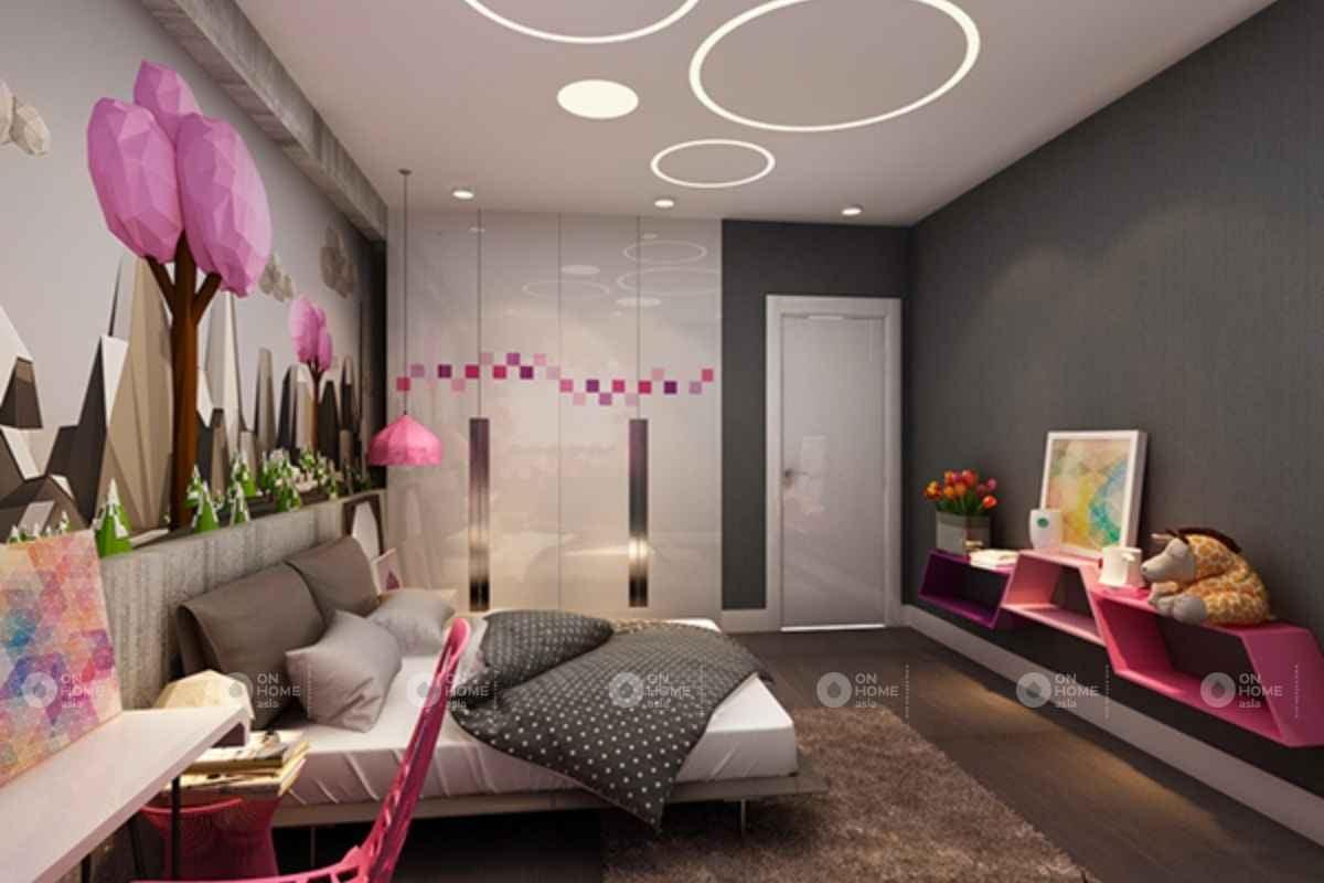 Không gian phòng ngủ màu hồng tím
