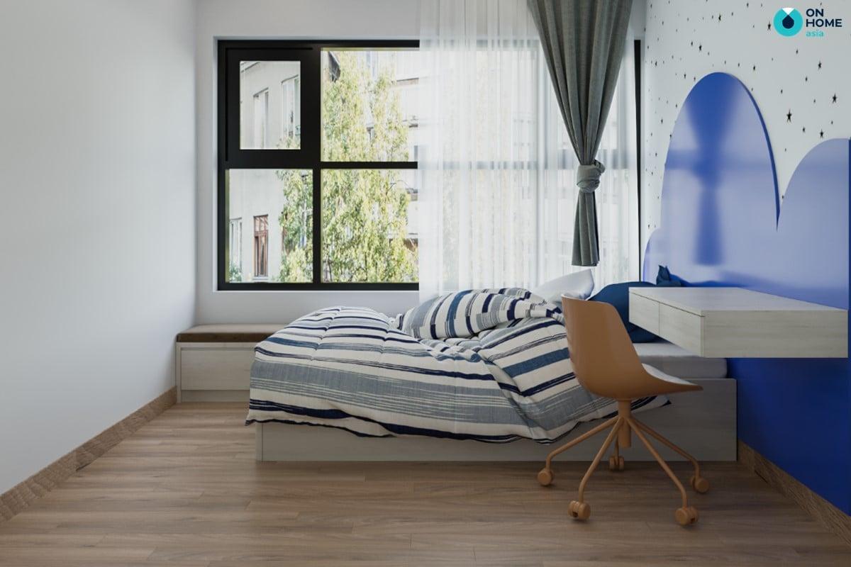 Phòng ngủ nhỏ sử dụng giấy dán tường