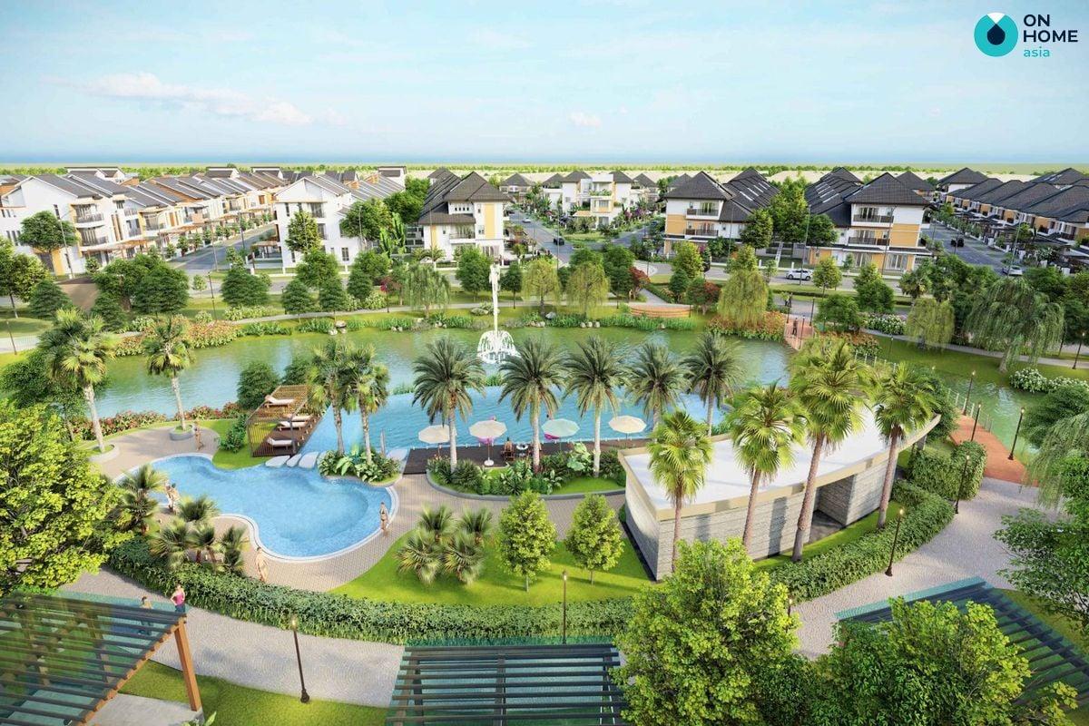 Khu công viên và hồ bơi dự án nhà phố Ecolakes Mỹ Phước
