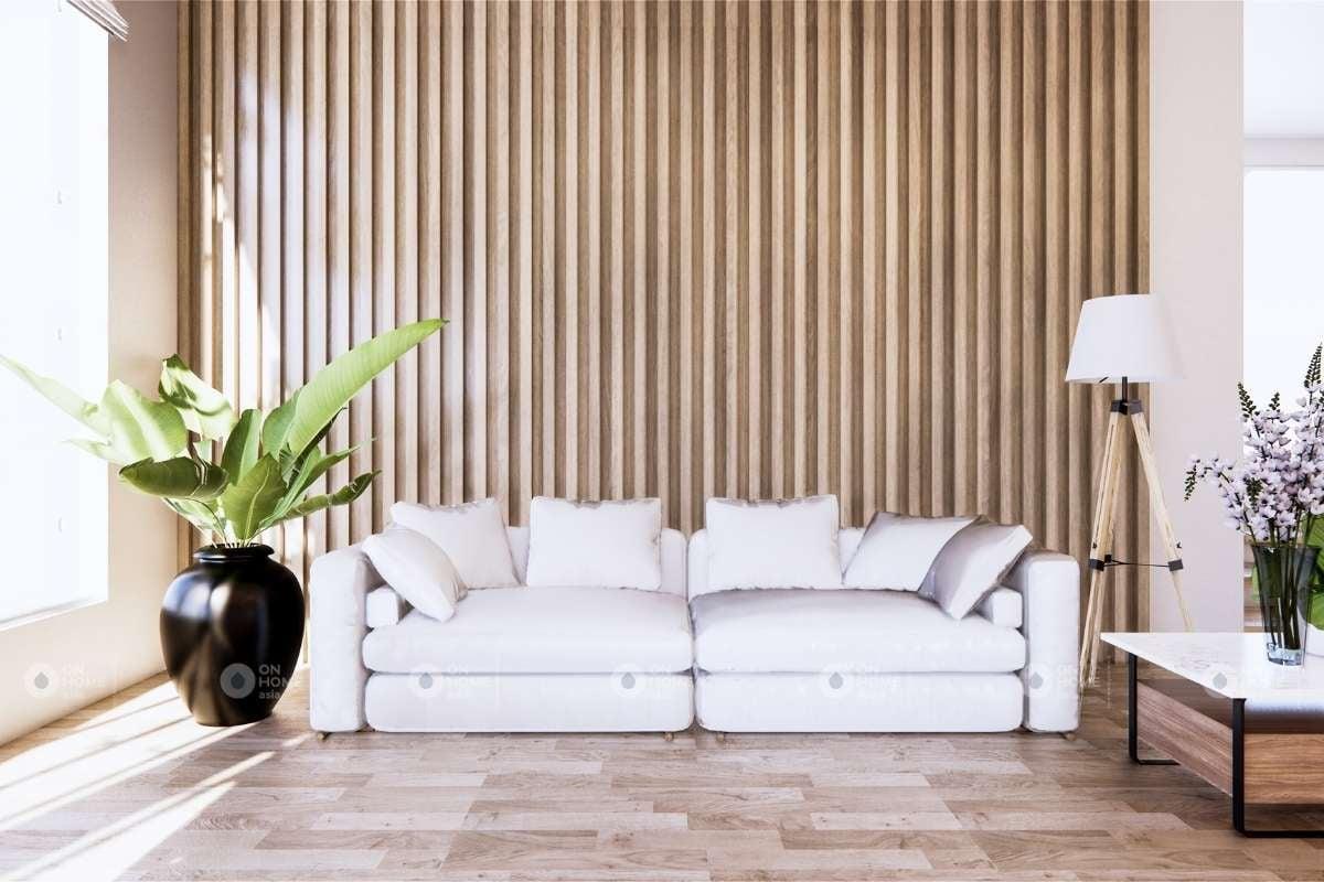 Thanh lam gỗ trang trí tường phòng khách