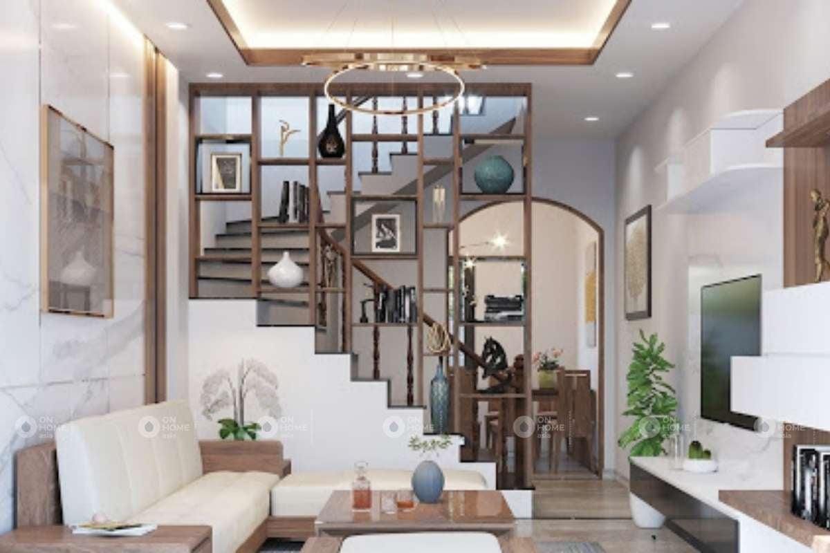 Tận dụng lam gỗ như một chiếc tủ trang trí phòng khách