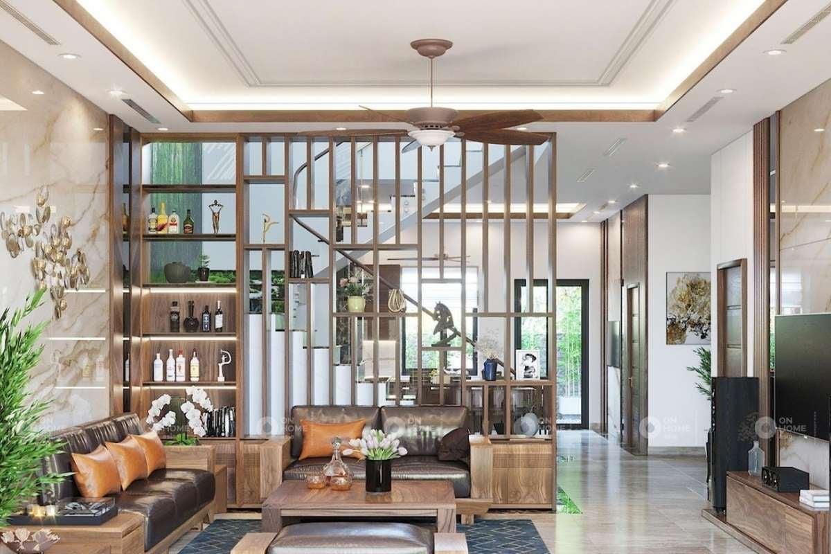 Lam gỗ trang trí phòng khách sang trọng