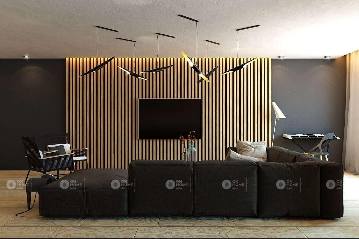 Lam gỗ phòng khách từ gỗ công nghiệp