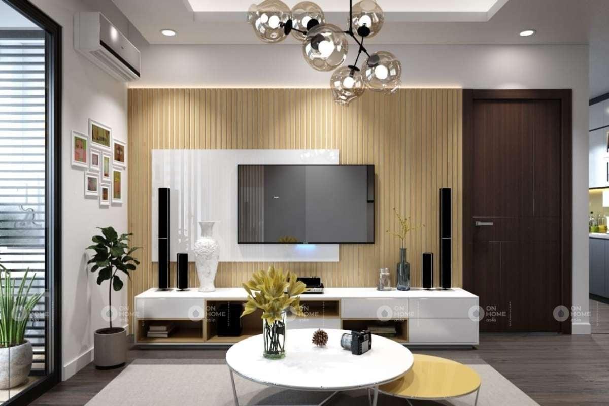 Mẫu lam gỗ trang trí phòng khách từ nhựa PVC