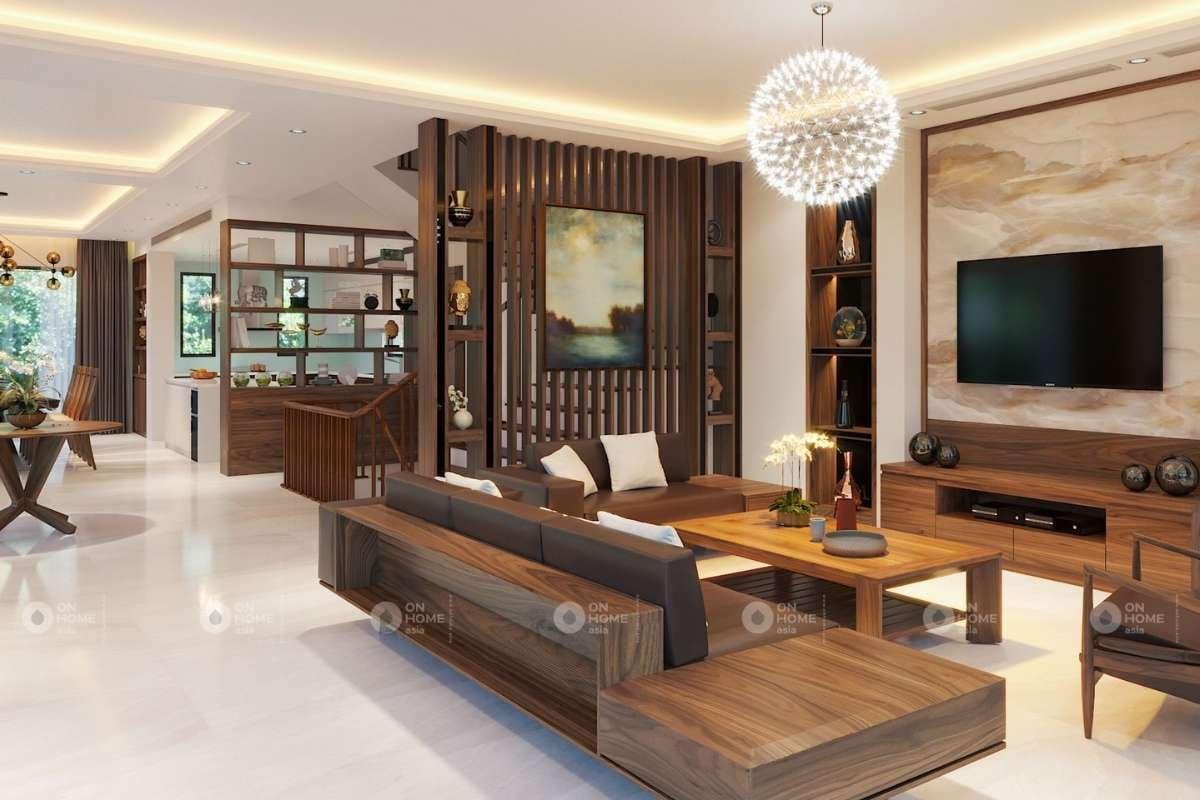 Lam gỗ phòng khách ngăn chia không gian hiệu quả