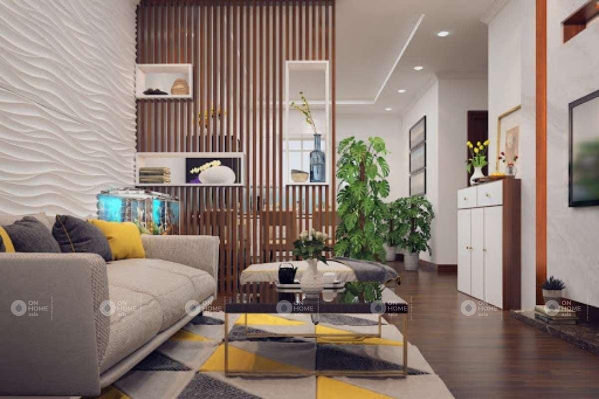 Vách ngăn lam gỗ ngăn chia phòng khách và bếp