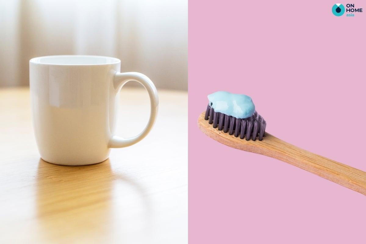 Kem đánh răng có tác dụng đánh bay vết ố vàng trên ly sứ