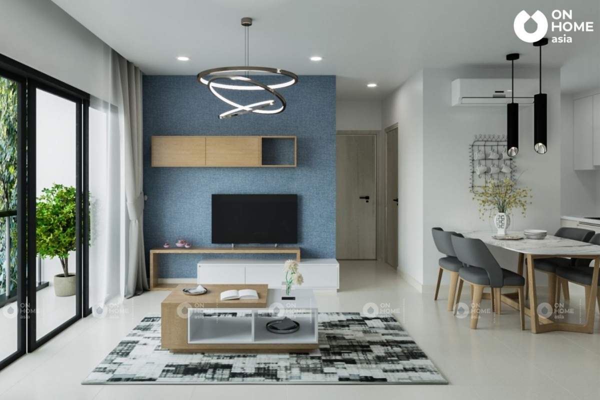 Không gian phòng khách căn hộ Compass One