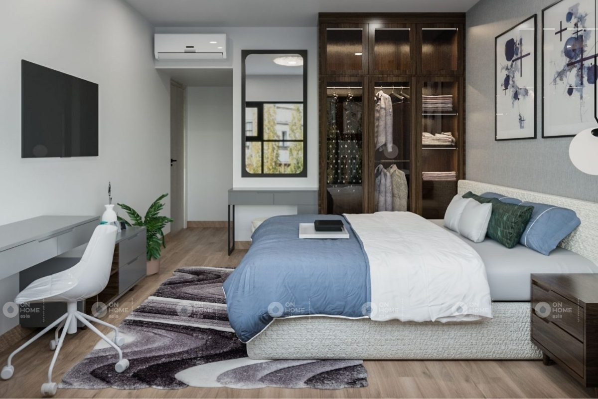 Phòng ngủ master với gam màu trầm ấm