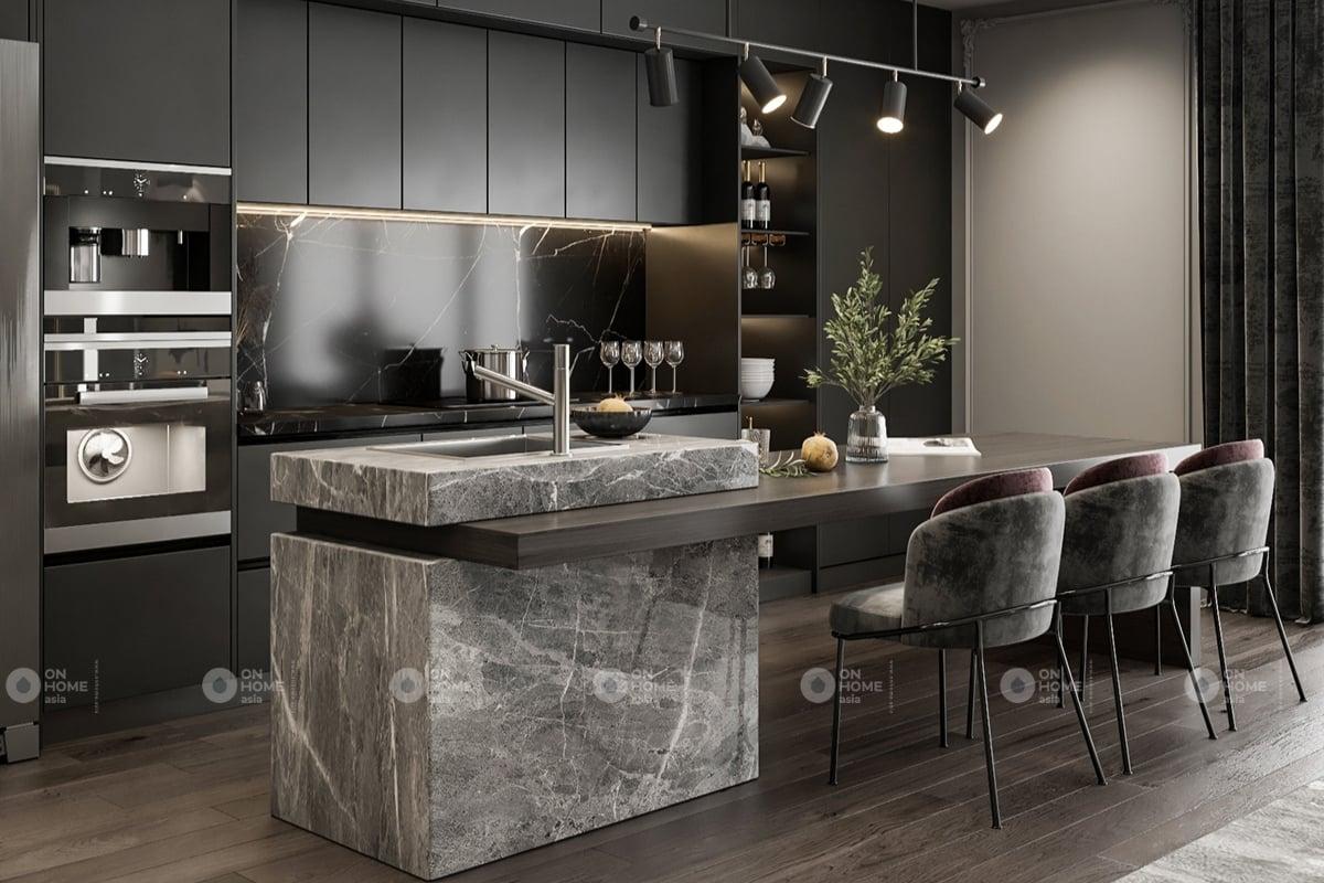 Thiết kế nội thất phòng bếp sang trọng và ấm cúng