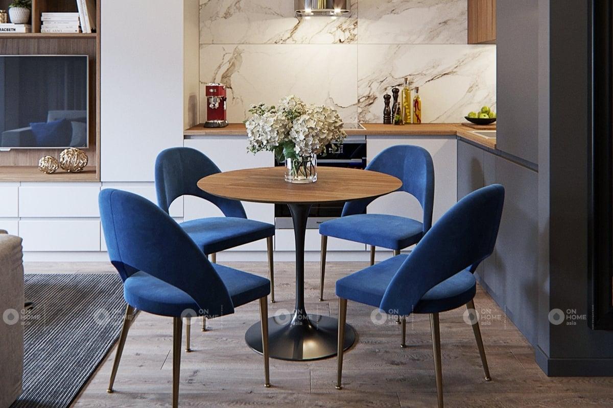 Không gian bếp ấm cúng với màu xanh bắt mắt