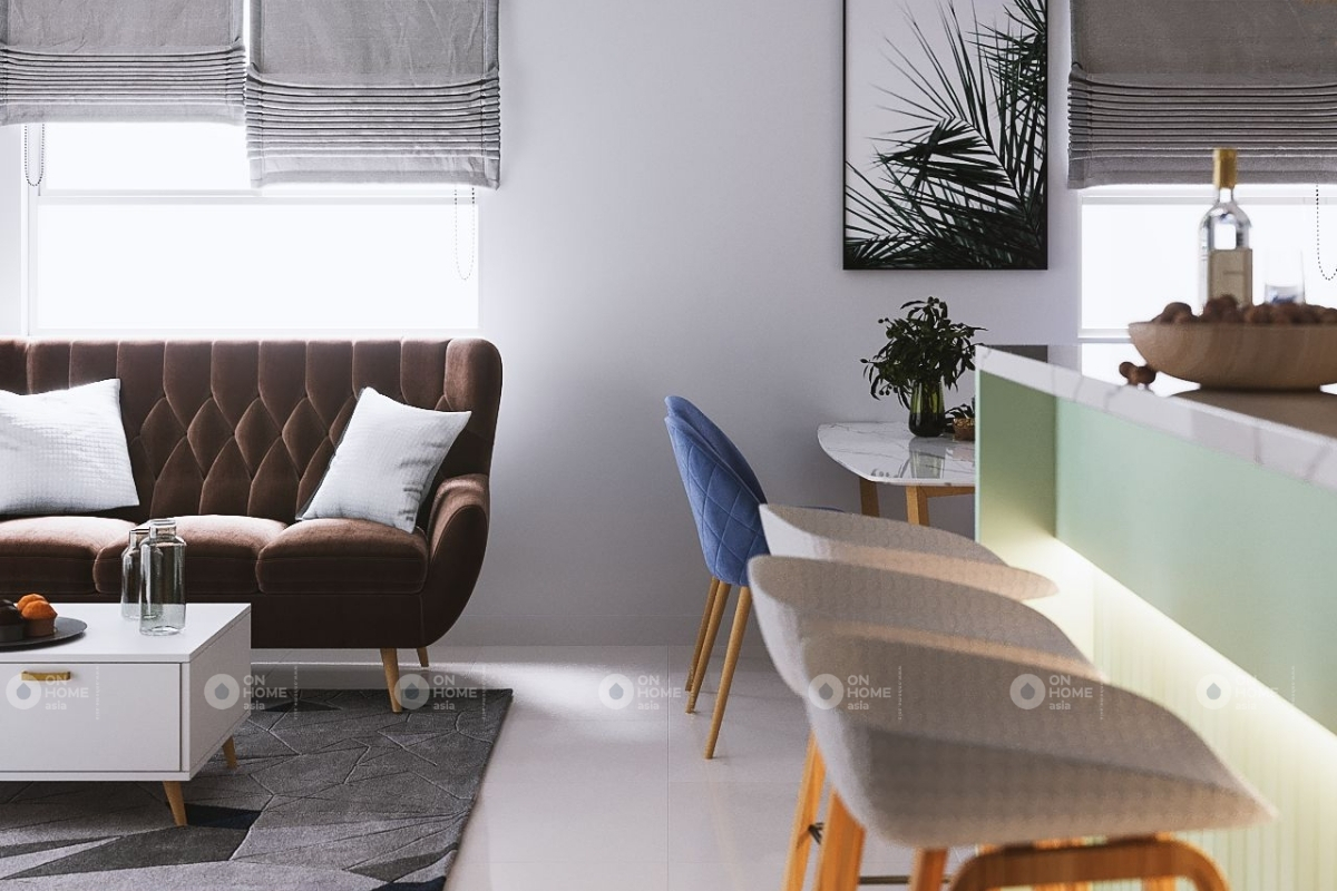 Một góc phòng bếp và phòng khách