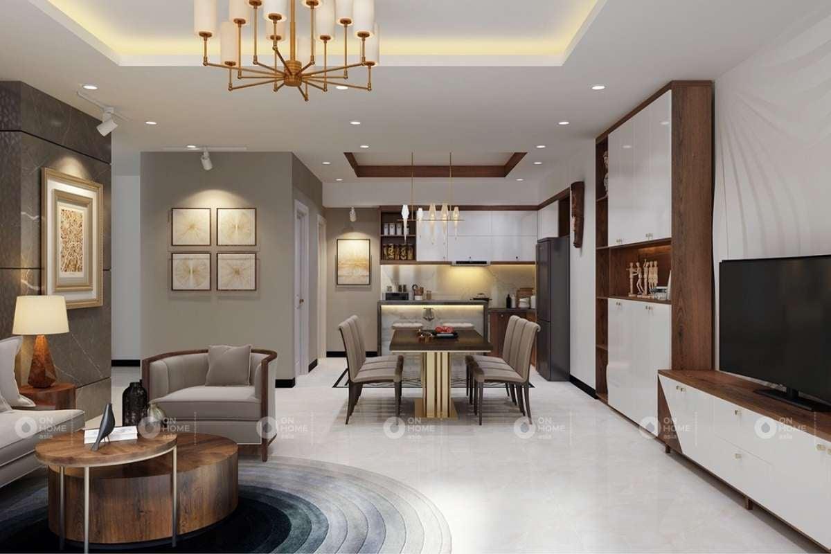 Thiết kế phòng khách và bếp nối liền nhau tạo không gian mở