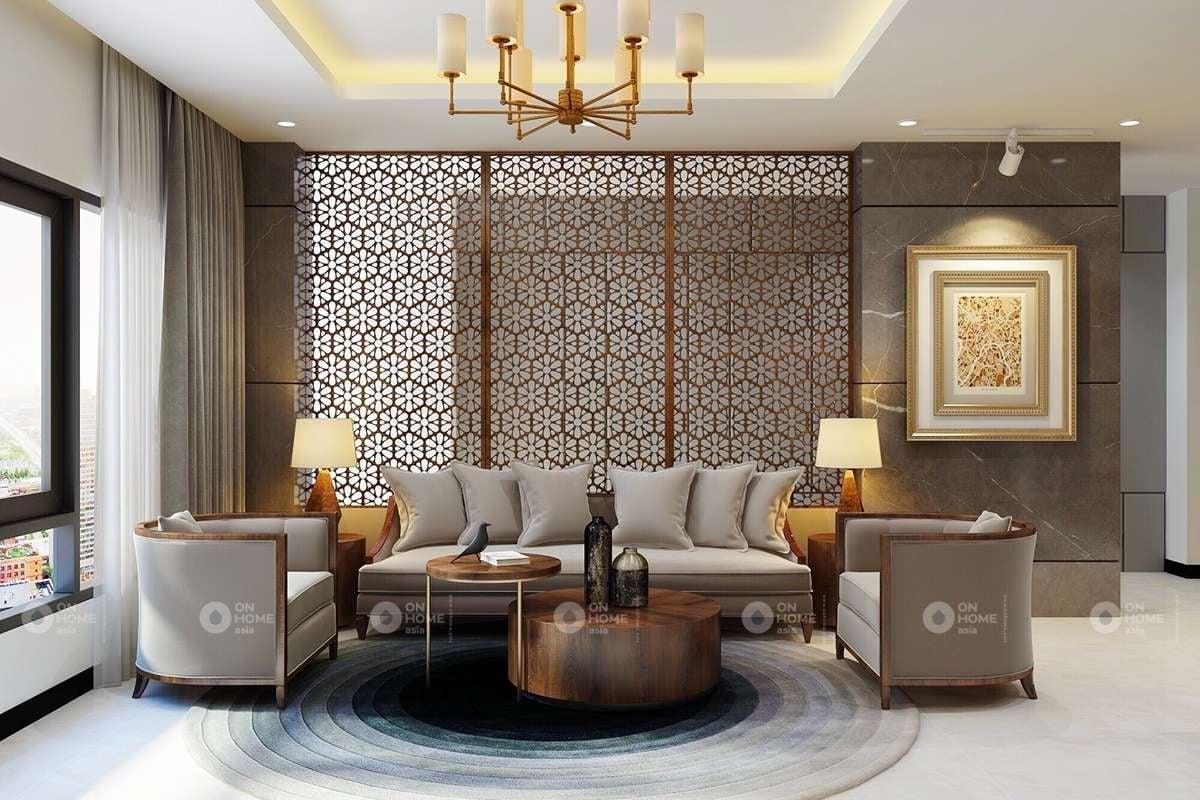 Phòng khách biệt thự được thiết kế hiện đại và thanh lịch