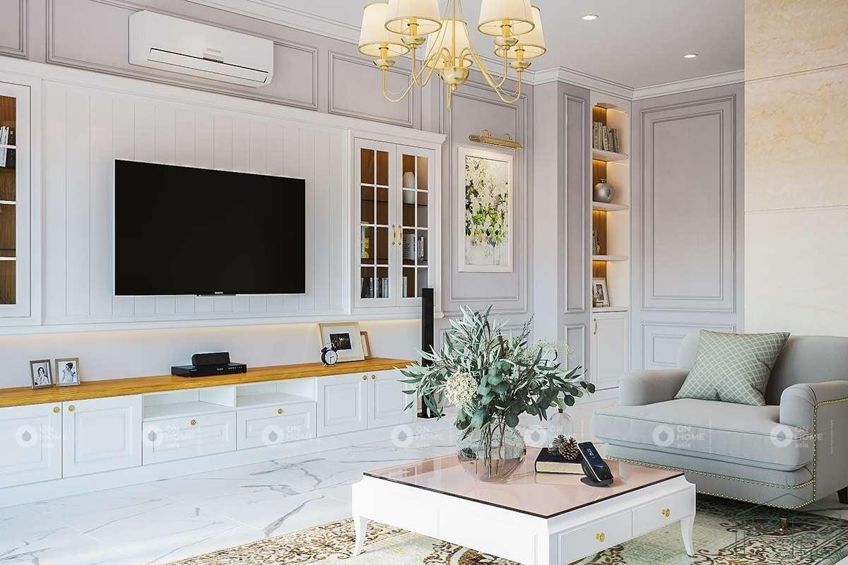Màu trắng mang đến không gian phòng khách sang trọng