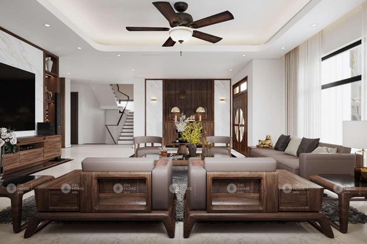 Bố trí nội thất phòng khách biệt thự hiện đại theo đúng tỉ lệ.