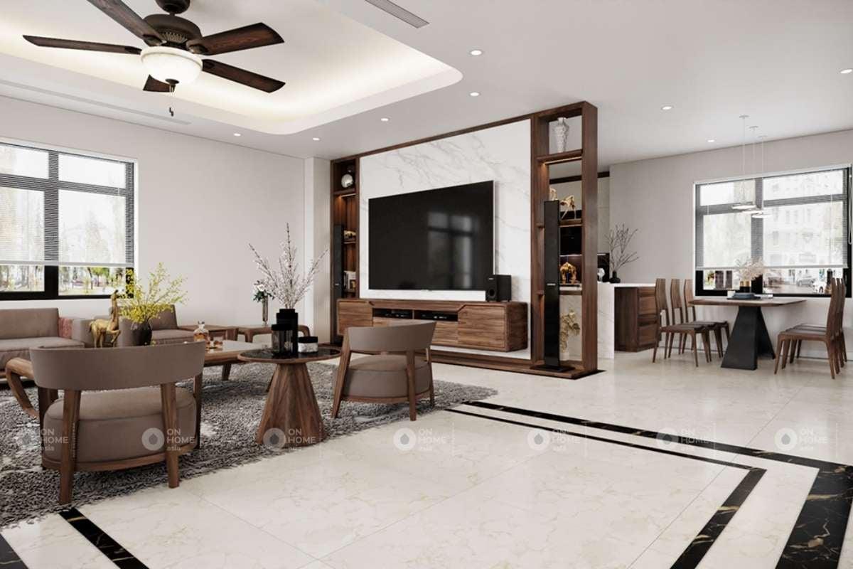 Thiết kế phòng khách biệt thự với gam màu hài hòa