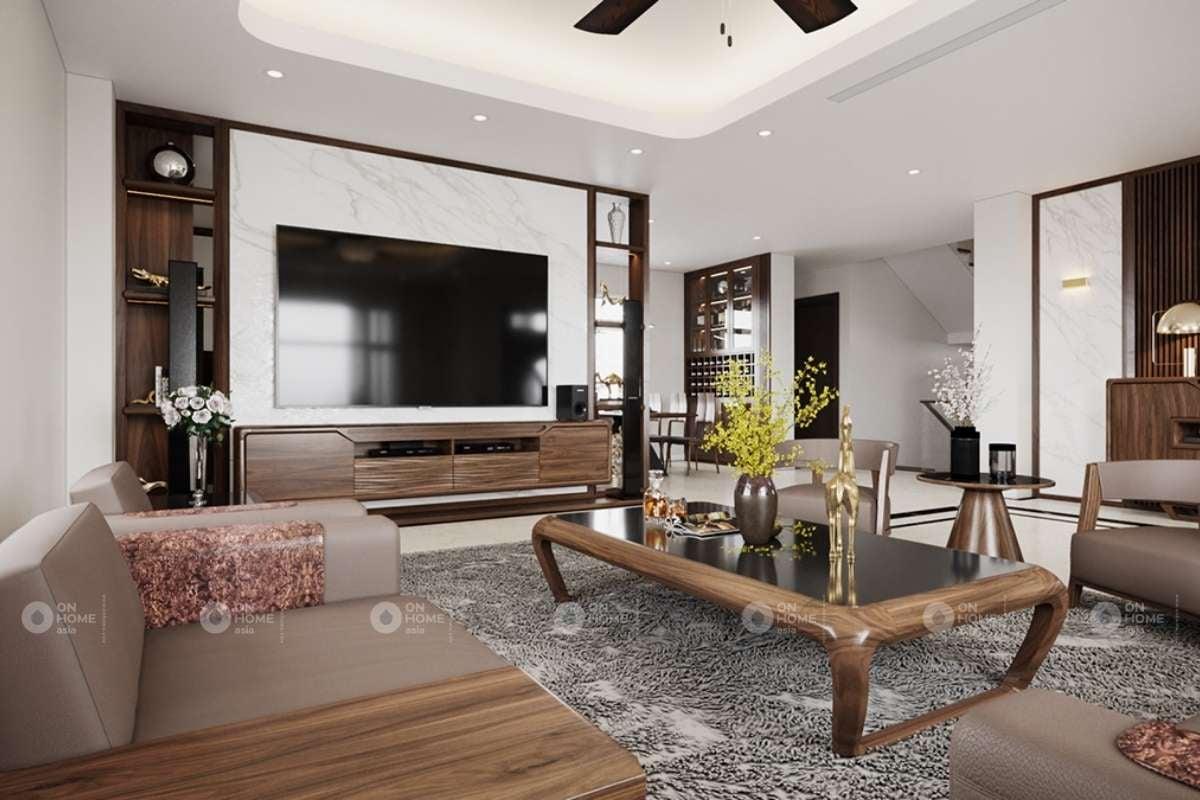 Thiết kế phòng khách với các chất liệu cao cấp